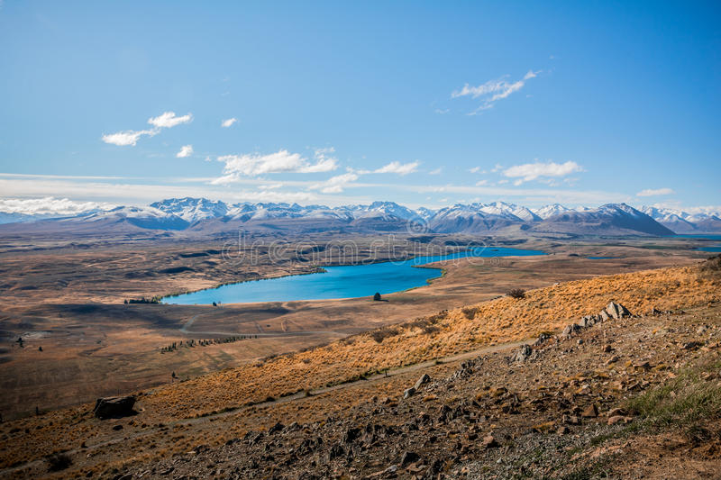 View of Lake Tekapo and the Southern Alps mountain range, New Zealand royalty free stock images
