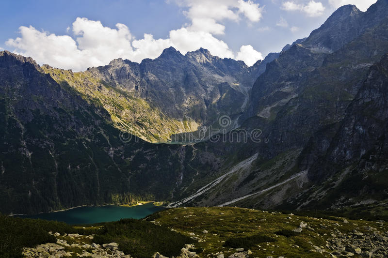 View of the lake in the valley of the eye and the Black Sea pond in Polish mountains, Tatras royalty free stock images