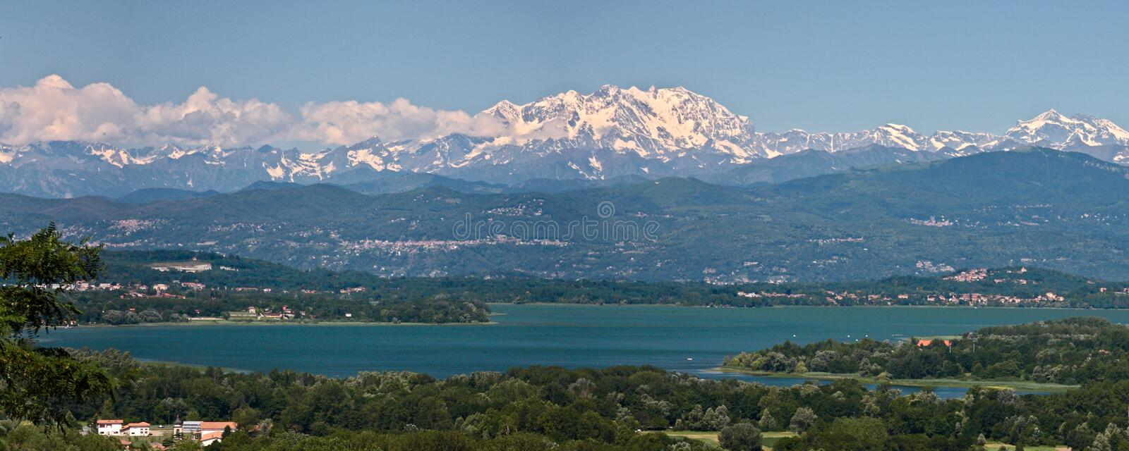 View of Lake Varese with the Alps royalty free stock photo