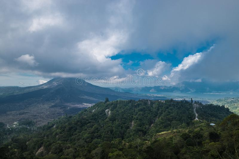 View of the lake and volcano Batur. Bali. View of the lake and volcano Batur. Bali royalty free stock image