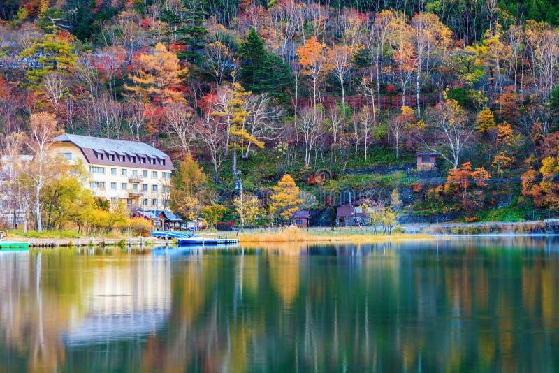 View of Lake Yunoko in autumn season, Nikko, Tochigi,Japan royalty free stock image