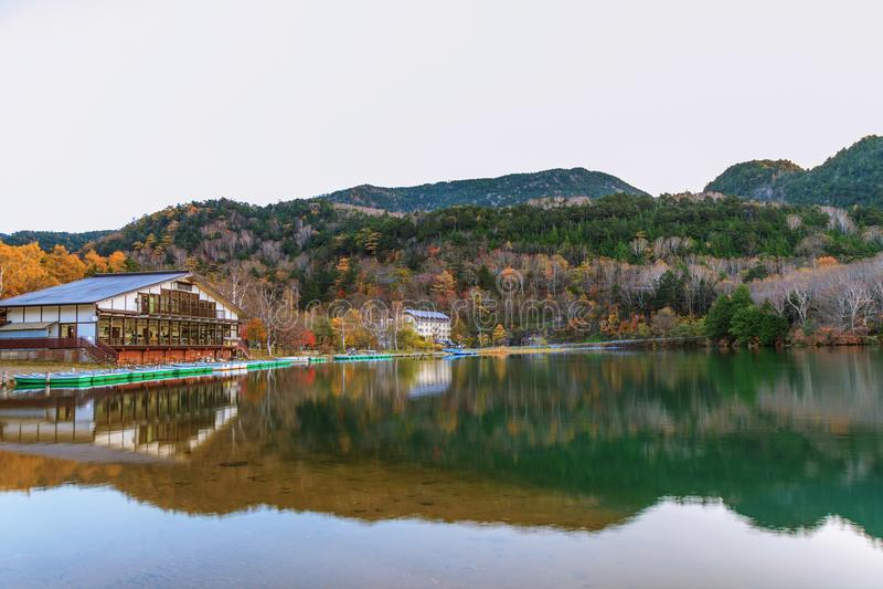 View of Lake Yunoko in autumn season, Nikko, Tochigi,Japan royalty free stock photography