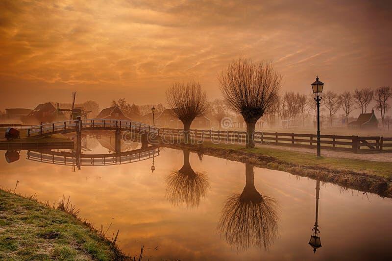 Zaanse Schans, Zaandam at Sunrise royalty free stock photos