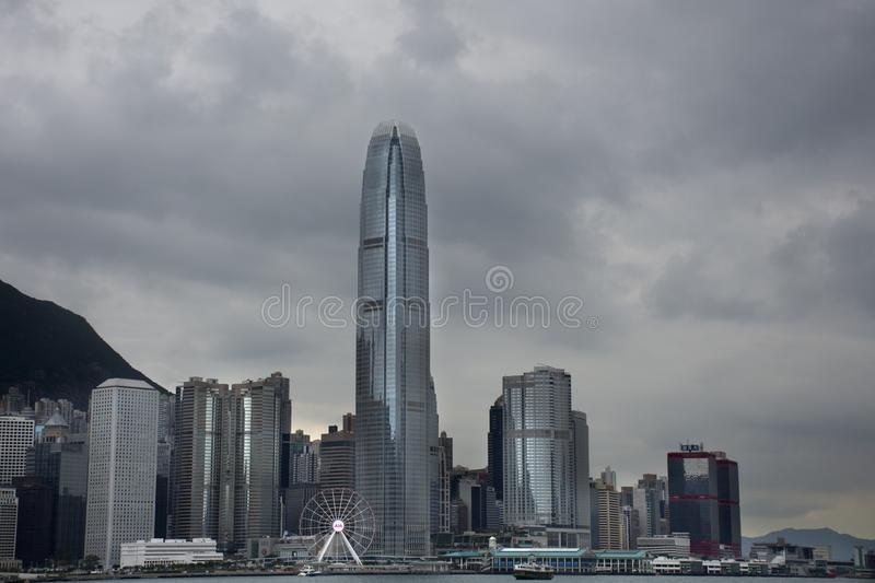 View landscape and cityscape of Hong Kong island from Star Ferry crossing Victoria Harbour at Kowloon island stock photography