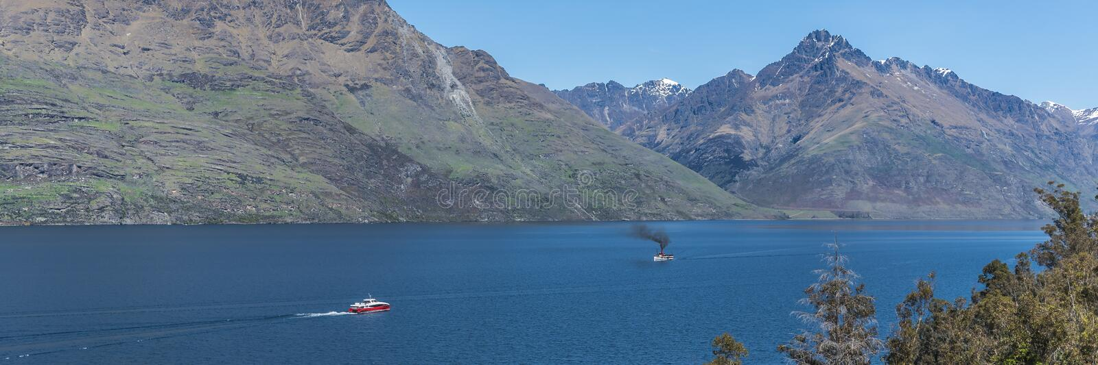 View of the landscape of the lake Wakatipu, Queenstown, New Zealand. Copy space for text.  stock image
