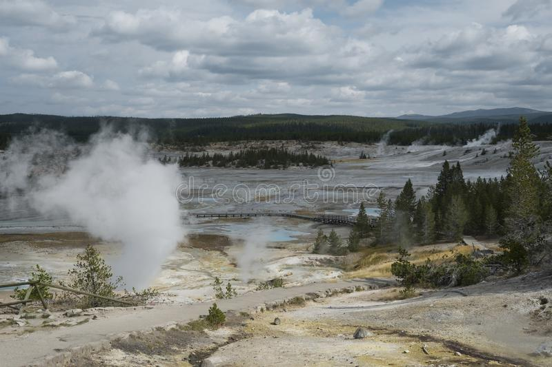 Norris Geyser Basin porcelain landscape in Yellowstone. View of the landscape in the Norris Geyser Basin Porcelain Landscape in Yellowstone National Park stock photography