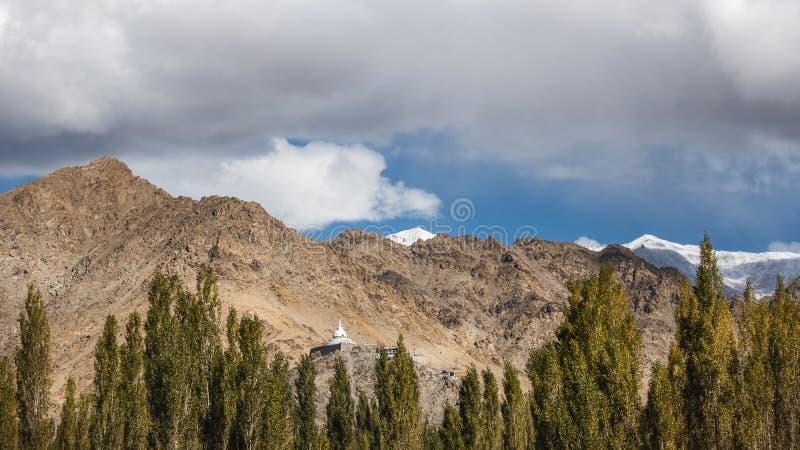 View of Landscape Shanti Stupa in Leh Ladakh ,India royalty free stock image