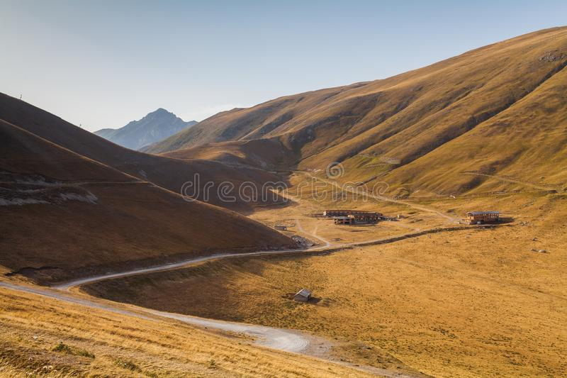 A view of the landscape somewhere near the road to arrive at the Astronomical Observatory of Campo Imperatore in Abruzzo, Italy stock photo