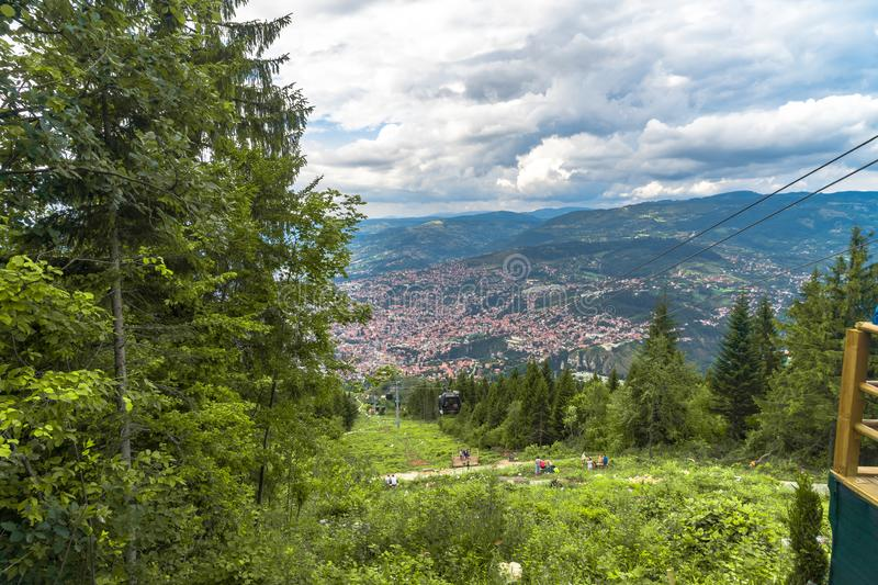 View of Landscape from Trebevic. Landscape view of Sarajevo from Trebevic Hill or Mountain royalty free stock photography