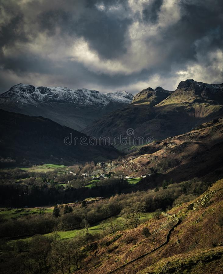 View of the Langdale Pikes from Loughrigg Fell. In the English Lake District royalty free stock images