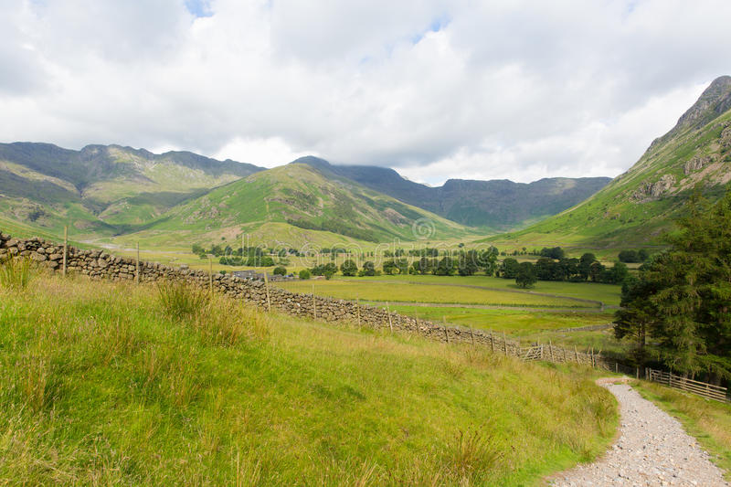 View of Langdale Valley Lake District Cumbria on walk to Blea Tarn from campsite. By Old Dungeon Ghyll England UK royalty free stock photography