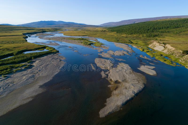 View of the Langotegan River aerial survey. Yamal, Russia. View of the Langotegan River survey from a quadrocopter. Yamal, Russia stock photos