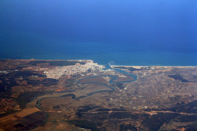 View of Larache from the air. View of Larache in the coast of Morocco and the Atlantic Ocean royalty free stock photos