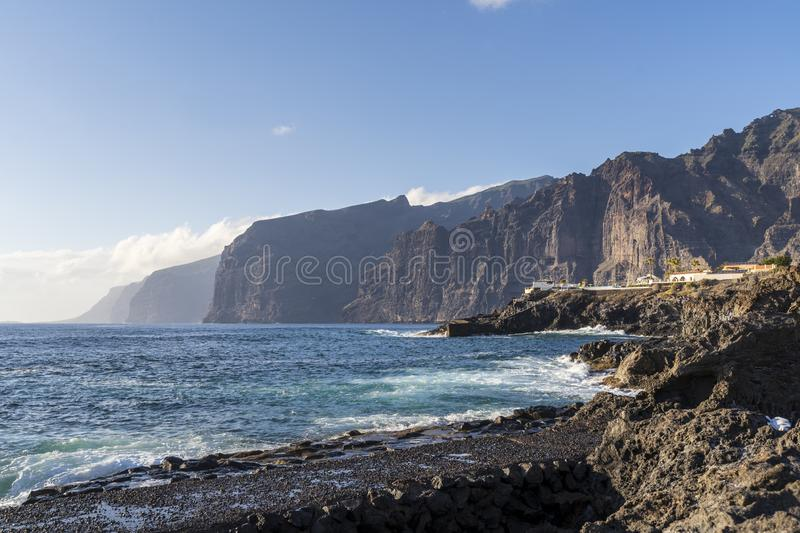 View of large cliffs in Tenerife stock photo