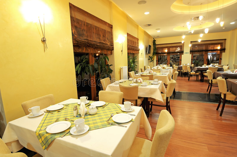 A view of large dining room stock photography