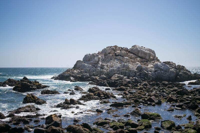 View of a large rock on the shore of the ocean where sea lions live royalty free stock photography