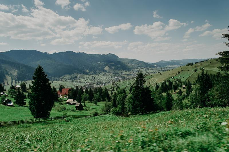 View of a large village in the valley. stock photography