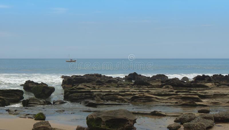 View of the Las Pocitas sector on the beach of Mancora on a cloudy day stock photography