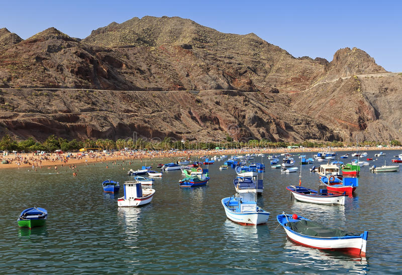 View the Las Teresitas beach, Tenerife. View the famous beach of Teresitas of the northeast part of Tenerife in the Spanish Canary Islands, Spain stock photography