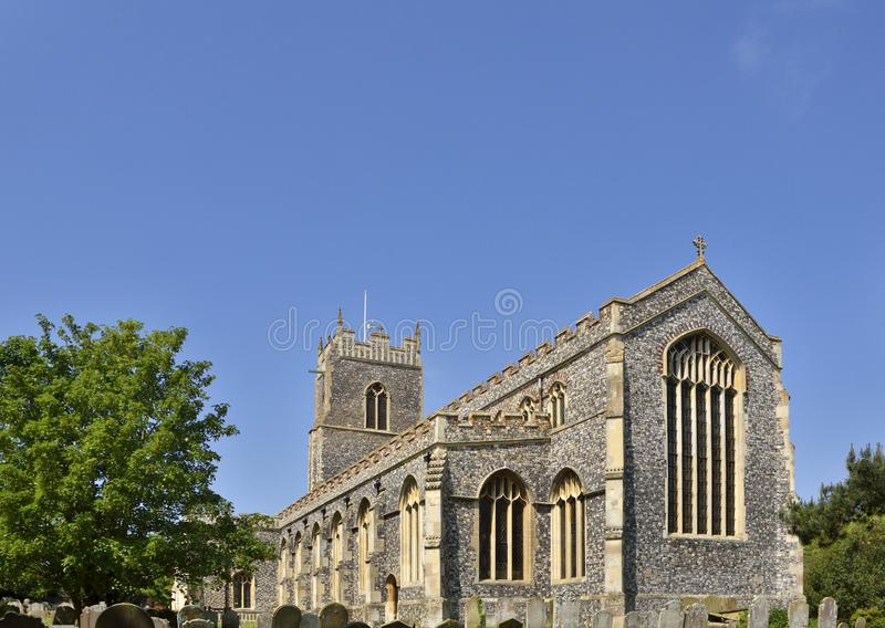 Historic Parish Church of East England. View of the late 15th century parish church of Holy Trinity in the town of Lodden, Norfolk, East England stock image