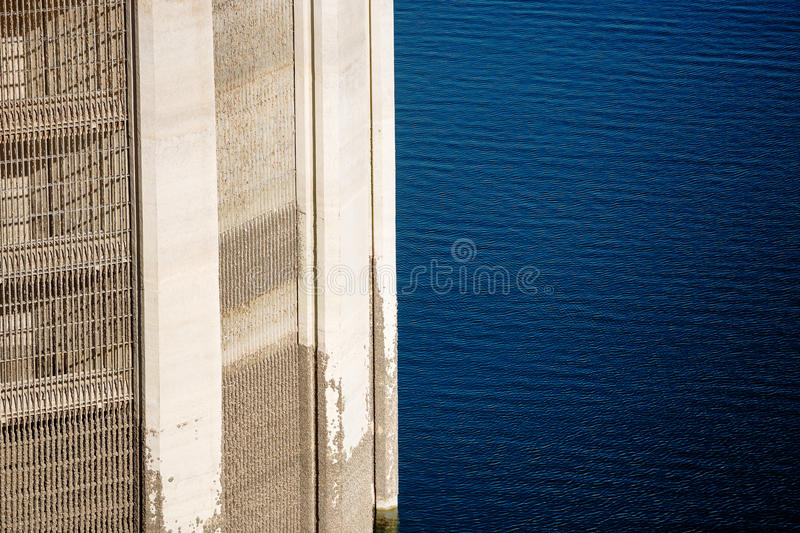 View on Lattice of Intake tower and Colorado river. View on Lattice of Intake tower at Hoover Dam and mead lake blue water royalty free stock photography