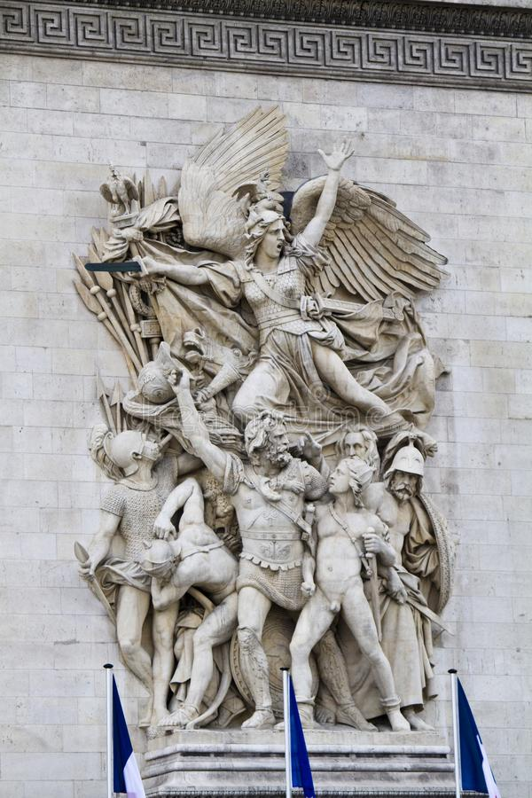 Le Depart de 1792 (La Marseillaise). View of the Le Depart de 1792 (La Marseillaise), in the Arc of Triumph in Paris, France royalty free stock photography