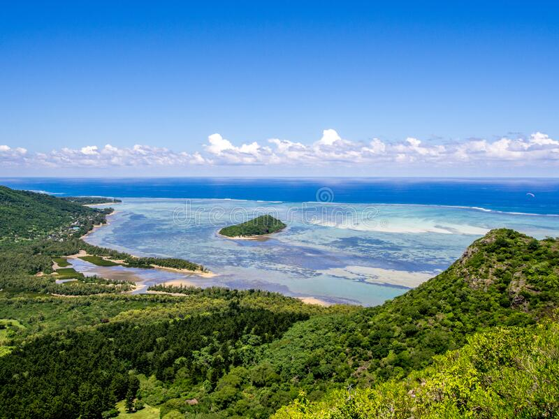 View from Le Morne Brabant mountain to west coast of Mauritius royalty free stock photos
