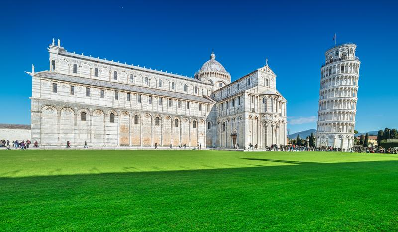 View of the Leaning Tower and the Cathedral of Pisa Campo dei Miracoli, Tuscany, Italy.  royalty free stock image