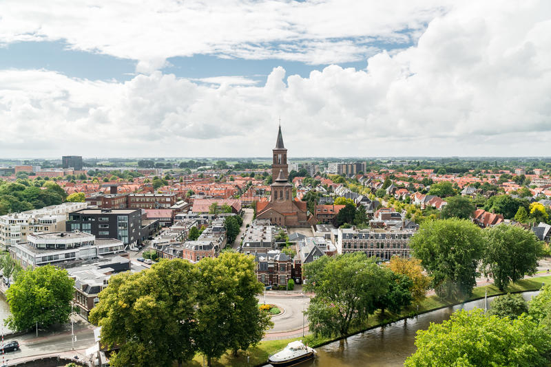 View of Leeuwarden and St.Dominicusker Church, Netherlands stock images