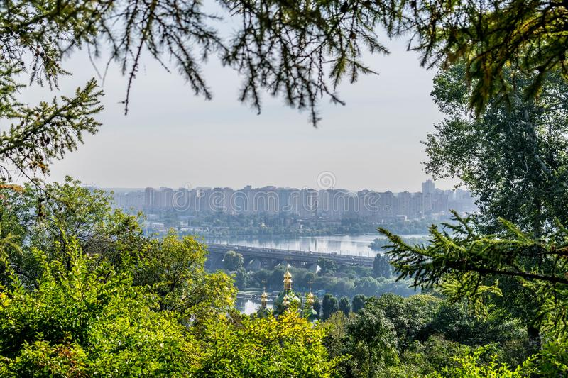 View of the left bank of Kiev stock photos