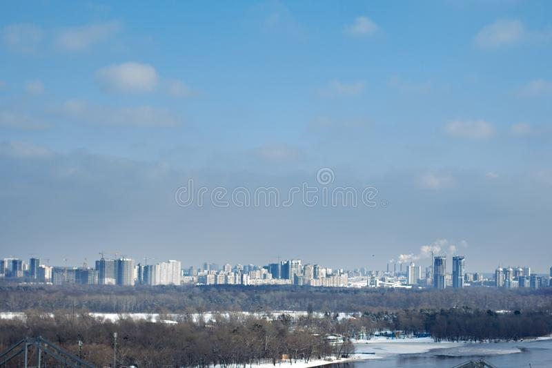 view of the left bank in Kiev in the winter royalty free stock image