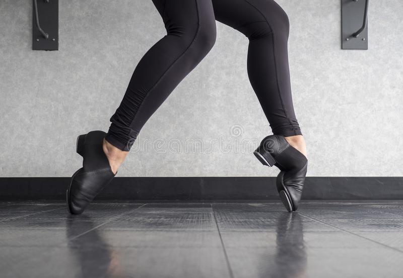 Tap shoe Toe Stand in Tap Class stock images