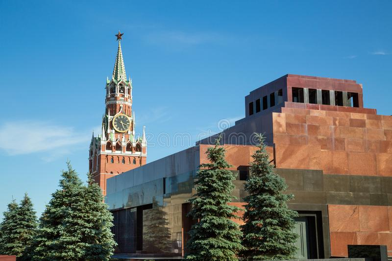 View of Lenin mausoleum and Spasskaya tower of the Moscow Kremlin. royalty free stock photography