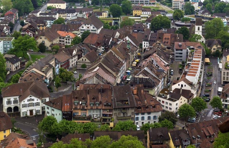 View of Lenzburg, Switzerland. View of Lenzburg from castle hill, Switzerland stock photos