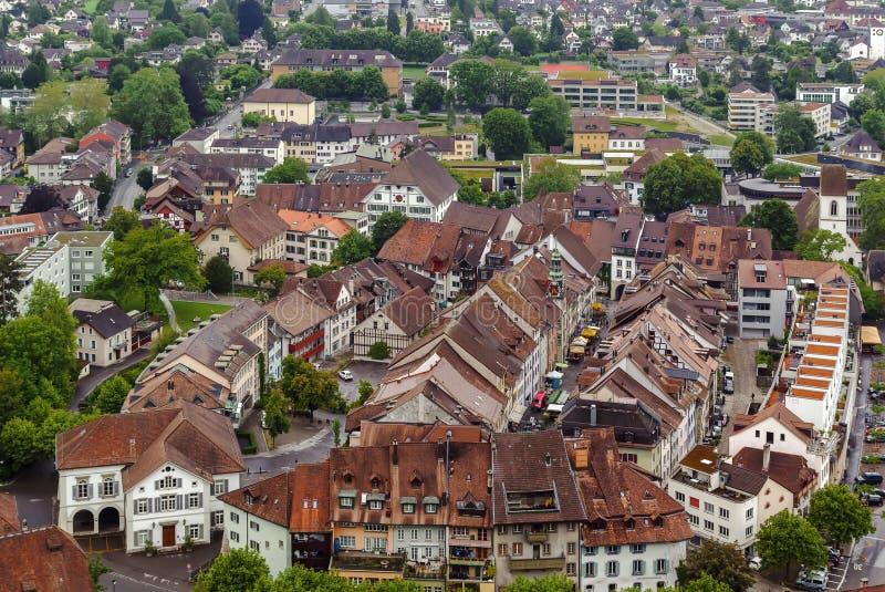 View of Lenzburg, Switzerland. View of Lenzburg from castle hill, Switzerland royalty free stock photo