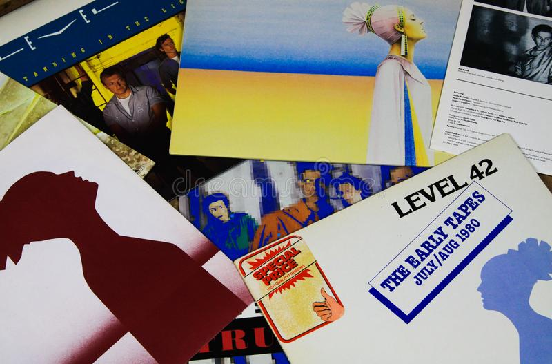 View on Level 42 vinyl record collection royalty free stock photos