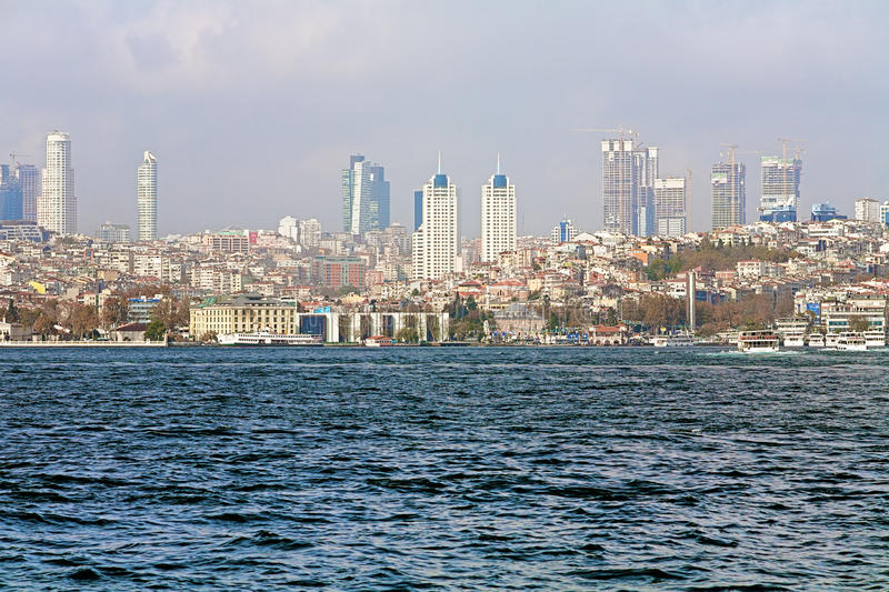 View of Levent business district from Bosphorus strait in Istanbul royalty free stock images