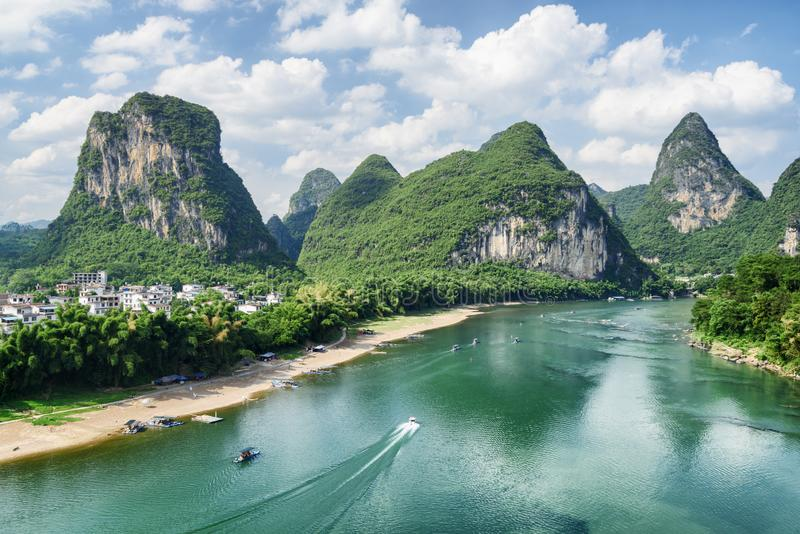View of the Li River (Lijiang River) with azure water royalty free stock photo