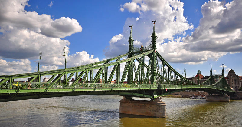 View of the Liberty bridge and Danube river in centre of Budapest. City, Hungary stock images
