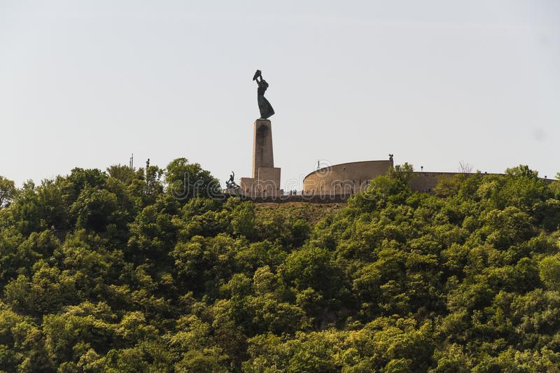 Gellert Hill and Liberty or Freedom Statue. View of Liberty or Freedom Statue in Budapest, Hungary, with copyspace royalty free stock image