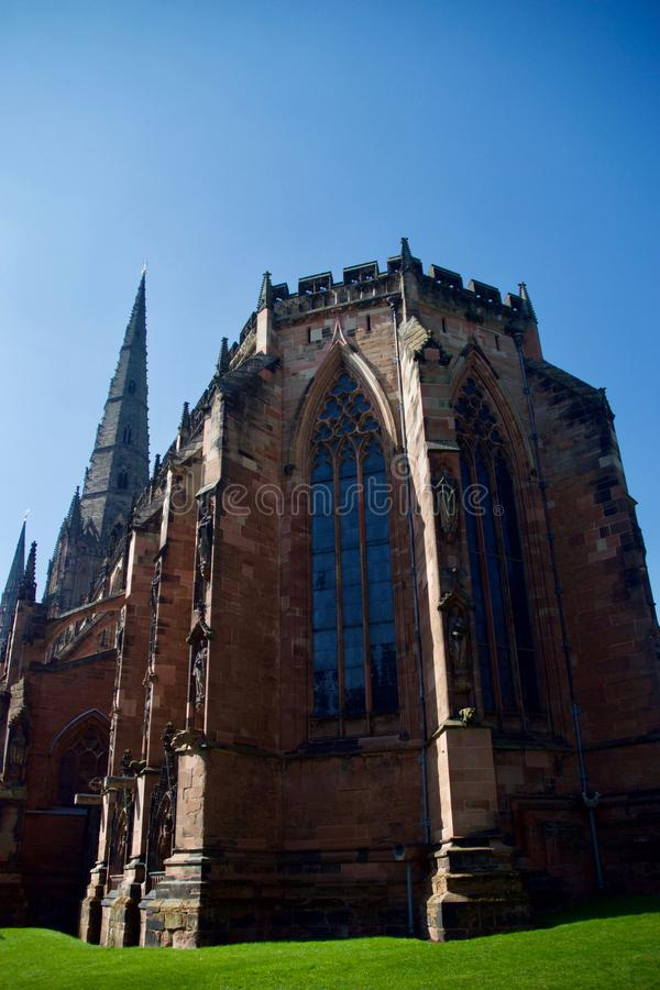 View of Lichfield cathedral. Lichfield Cathedral Staffordshire England united kingdom royalty free stock photos