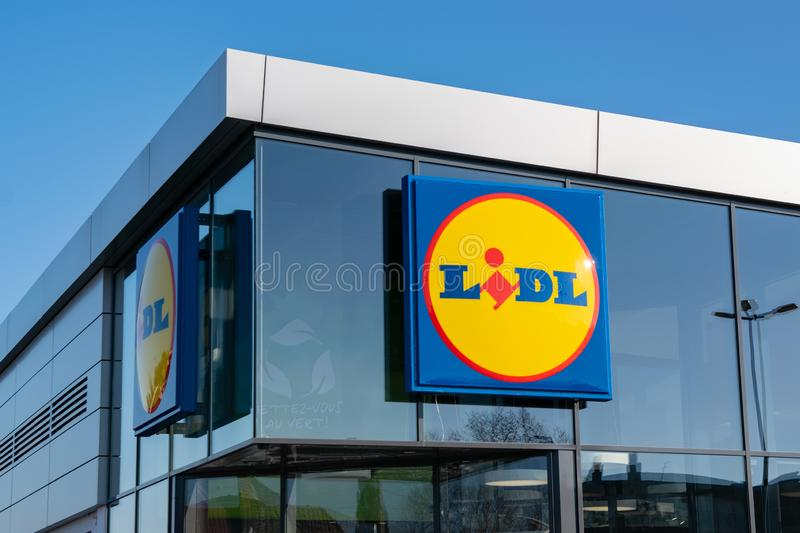 View of Lidl supermarket and logo. stock photos