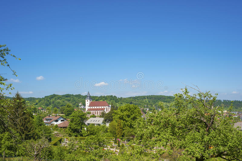 View on the Liebfrauenkirche in Gernsbach, Black Forest, Baden-Wuerttemberg, Germany, Europe stock photography