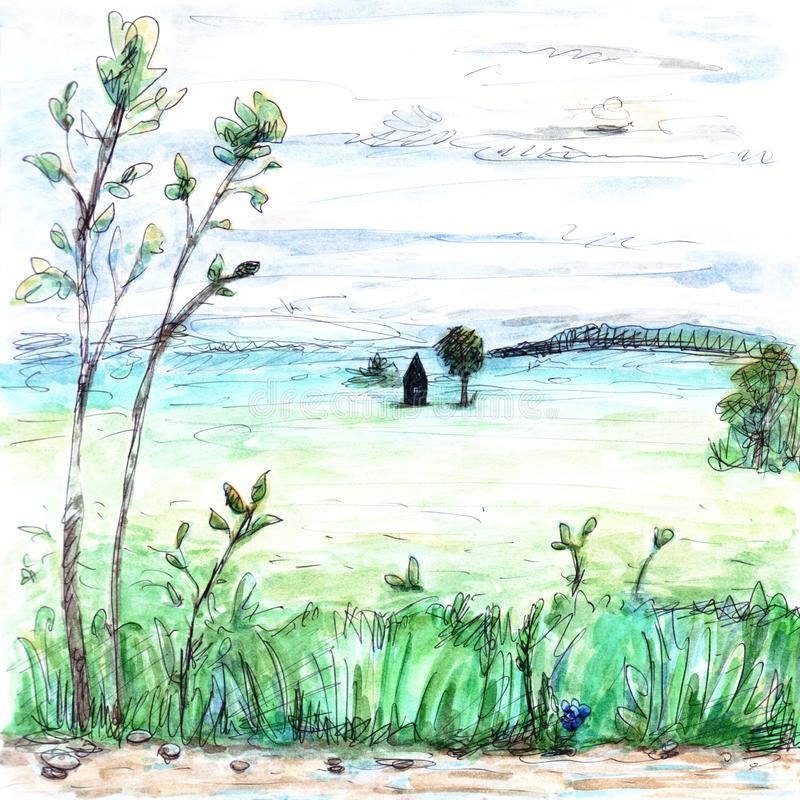 View of light whitish foggy summer field and forest house plants clouds sky dull trees grass road watercolor paint illustration stock illustration
