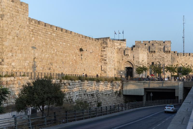 View in the light of the sunset on the walls of the old city near the Jaffa Gate in Jerusalem, Israel. Jerusalem, Israel, 28, September, 2018 : View in the light stock images
