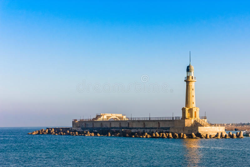 A view of the lighthouse at Alexandria, Egypt.  royalty free stock photography