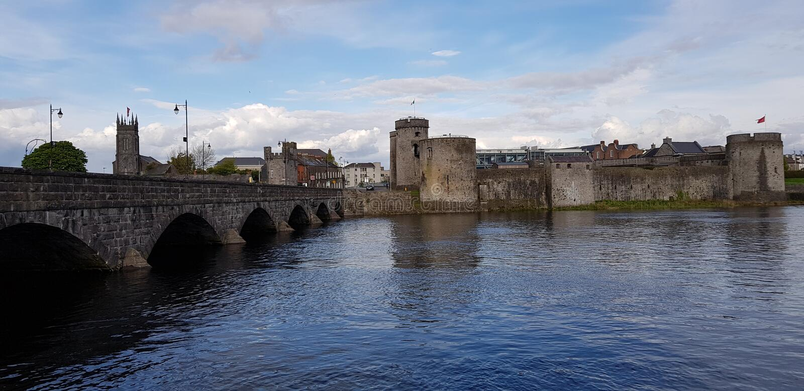 Limerick castle. View of Limerick castle, Ireland.King John& x27;s Castle is a 13th-century castle located on King& x27;s Island in Limerick, Ireland, next to royalty free stock photo
