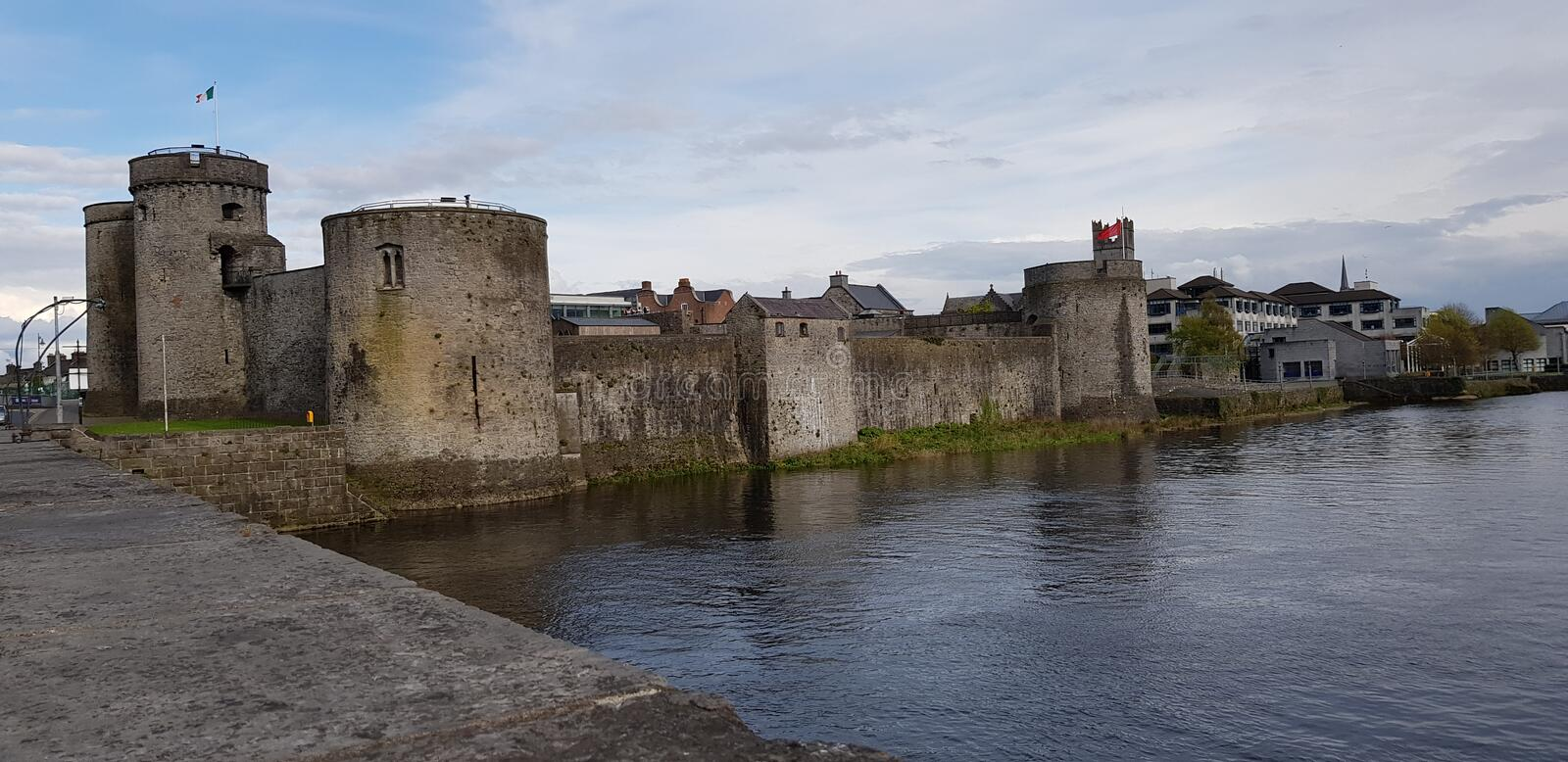 Limerick castle. View of Limerick castle, Ireland.King John& x27;s Castle is a 13th-century castle located on King& x27;s Island in Limerick, Ireland, next to royalty free stock image