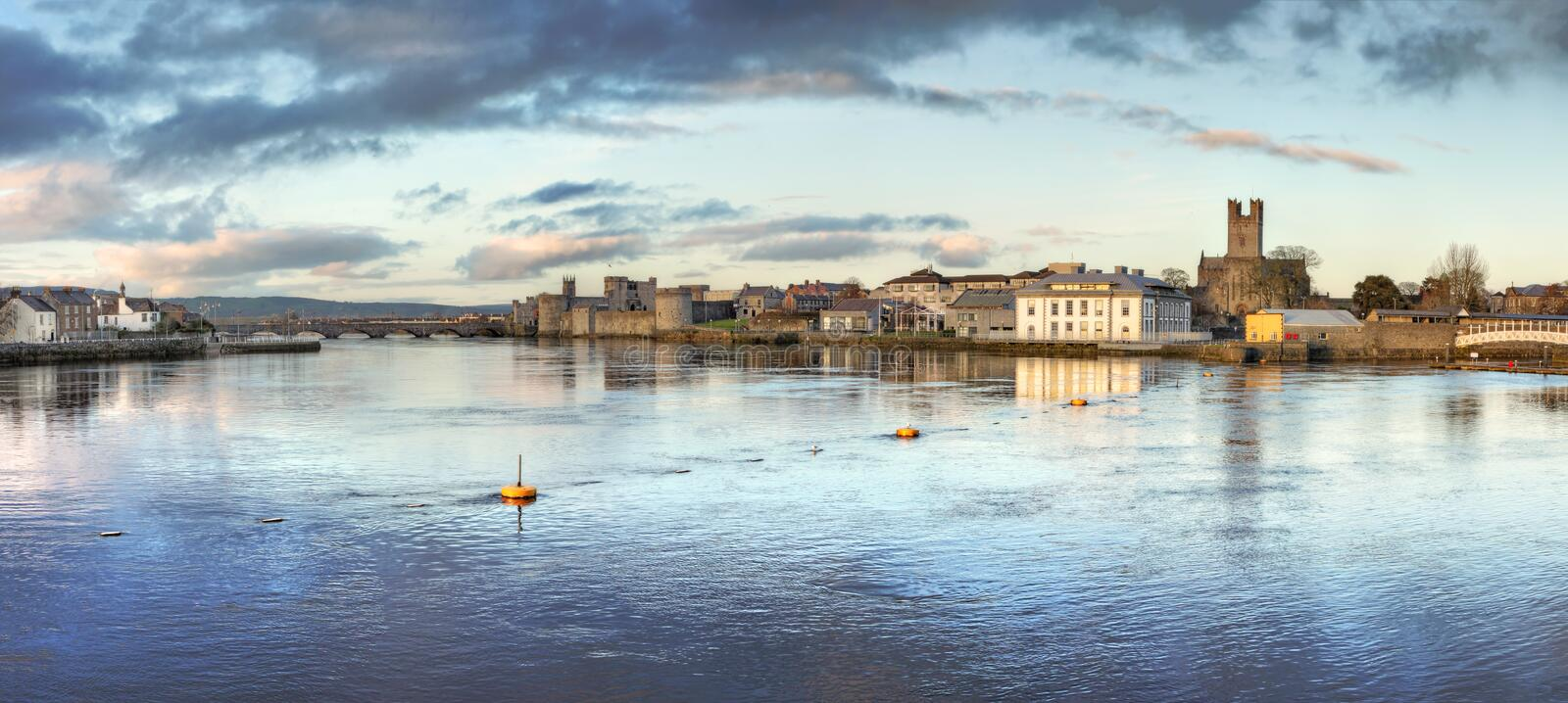 View of Limerick City at dusk in Ireland. Panoramic view of Limerick City at dusk in Ireland royalty free stock photography