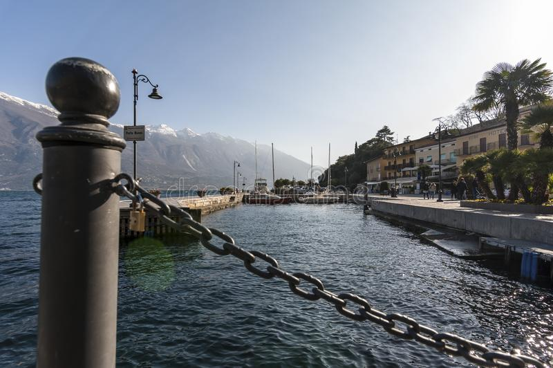 View of Limone sul Garda from the docks stock photography